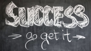 The chalk board picture of success, stating go get it.