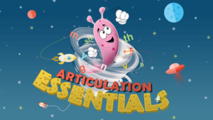 An animated picture of a caroon character sweeping up through the space stating articulating essentials.