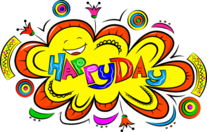 The picture of a animated character shouting out Happy day.