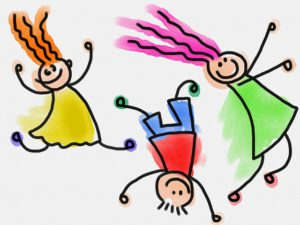 The aniamted illustration of three very happy little kids