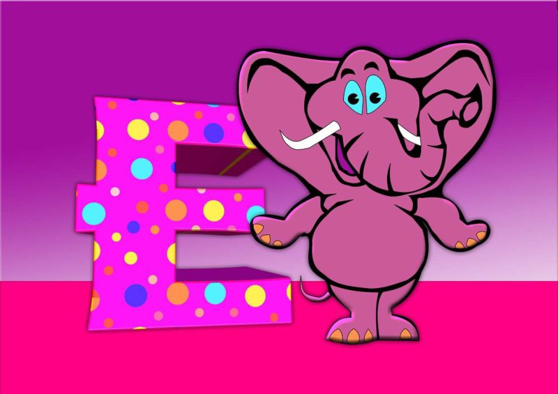 An animated picture of a funny elephant standing next to the letter E.