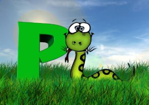 An animated picture of a snake in front of the letter P.