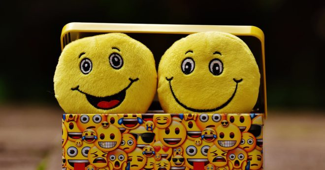 Two stuffed happy faces in a basket.