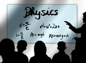 Instructor teaching physics to very young students.