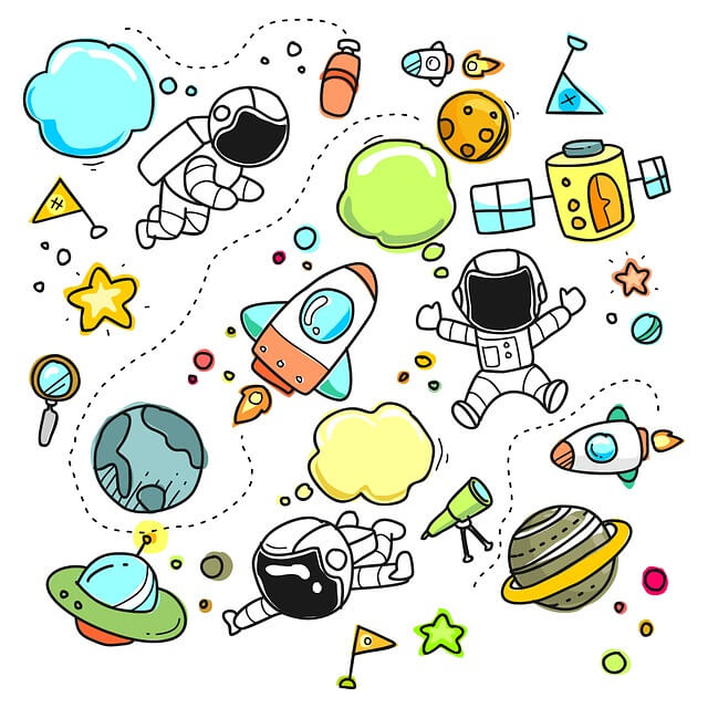 Illustration of children having fun in space type technical devices.