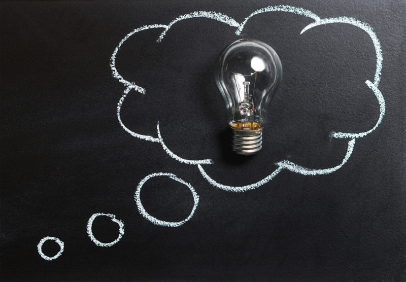Chalk board illustration of a light bulb, depicting ideas.
