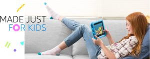 Best rated kids tablets. the picture of a girl engaging her fun learning tablet.