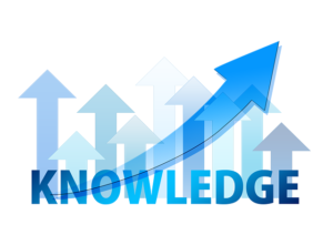 The colorful illustration of knowledge with arrows pointing upwards.