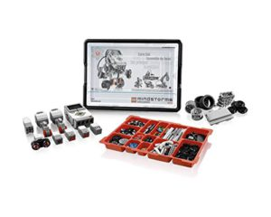 The picture of the Lego mindstorms EV3 kit laid out.