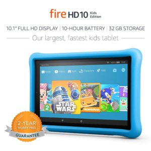 The very colorful illustration of the amazon fire hd10 kids edition fun learning tablet.