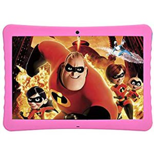 The very colorful illustration of super heroes and kids on the screen of a tablet.