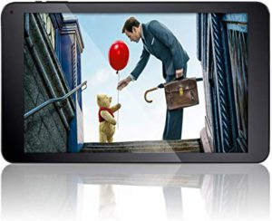 kids learning tablets. the picture of a man handing the Pooh bear a balloon.