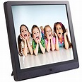 The picture of two boys and two girls, on the screen of a tablet.