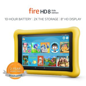 The very colorful picture of a Amazon Fire HD 8, kids edition tablet.