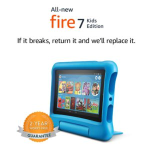 The amazing and very colorful picture of the Amazon Fire 7 kids edition, tablet.