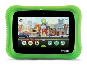 Reviews of The Best Technologies For Kids of All Ages. The picture of the LeapPad epic academy edition tablet.