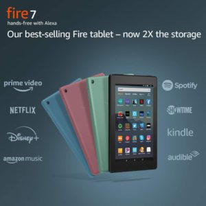 Amazon fire tablets. The illustration of the Amazon Fire tablt 7