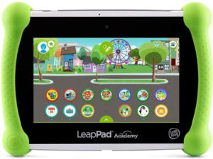 Kids online learning. The colorful picture og the LeapFrog Acaemy edition tablet.