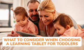 The colorful picture a the parents engaging a kids tablet with their children