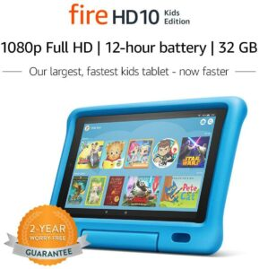The Amazon Fire HD 10 Kids edition. Top 10 Tablets Kids: Educator Endorsed Fun Learning Devices
