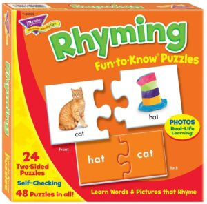 Rhyming Words Match & Learn Puzzle. Best Educational Toys For 3-Year-Olds Seeking Early Academic Growth
